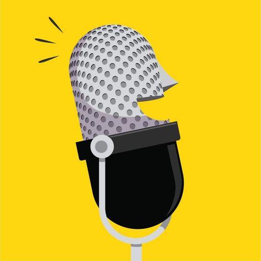 gele tegel met een microfoon met een glimlach